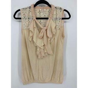 Sundance S Cream ruffle crochet lace tank blouse